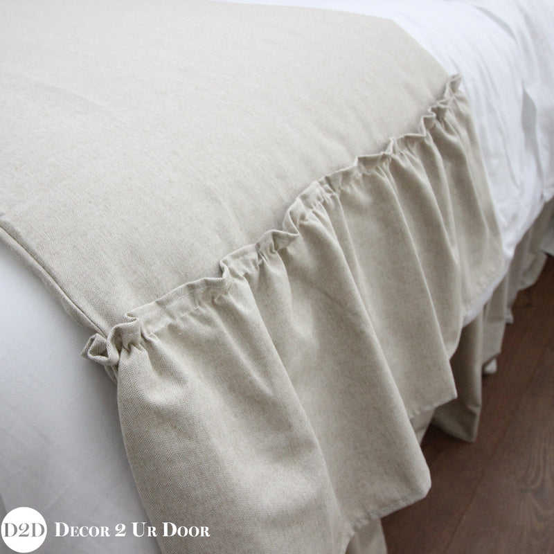 Solid Tan Ruffled Bed Scarf