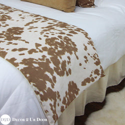 Tan Cowhide Print Bed Scarf