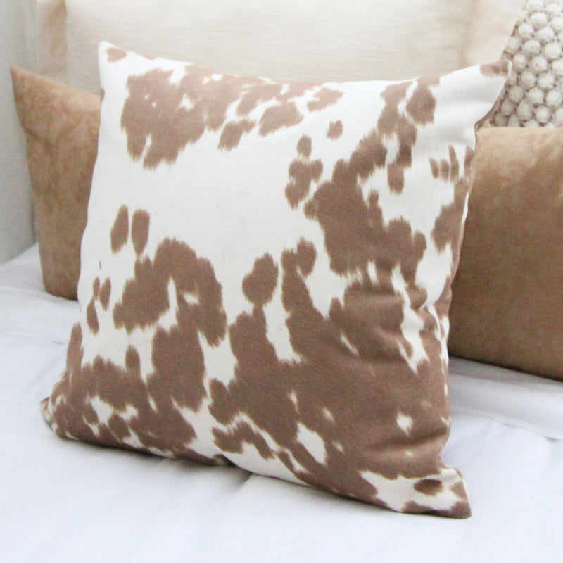 Tan Cowhide Print Square Pillow Cover