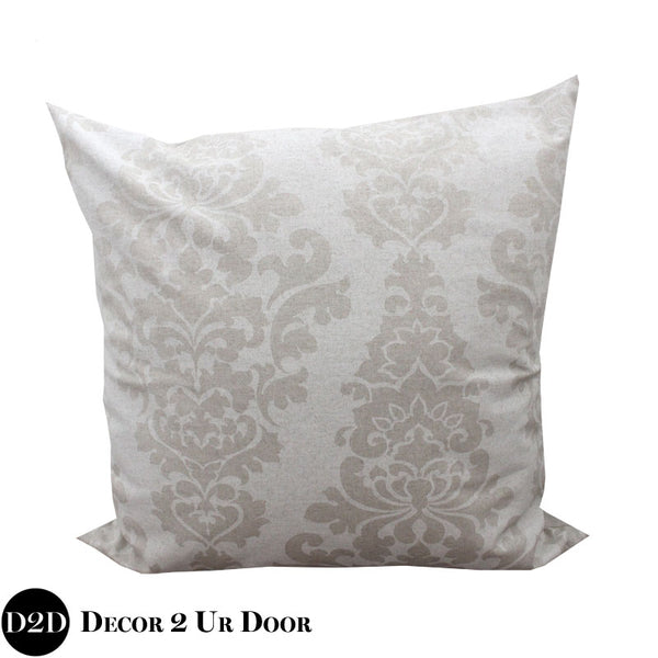 Tan Damask Euro Pillow Cover