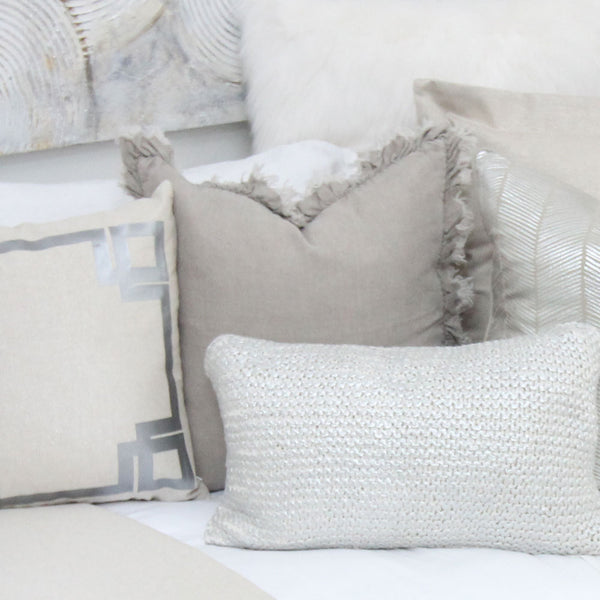Tan Linen Frayed Frilly Square Pillow Cover