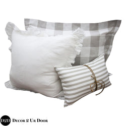 Tan Gingham Plaid Pillow Pile