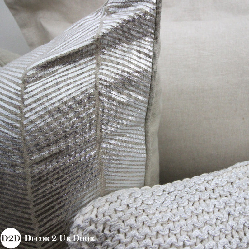 Tan & Metallic Silver Herringbone Square Pillow Cover