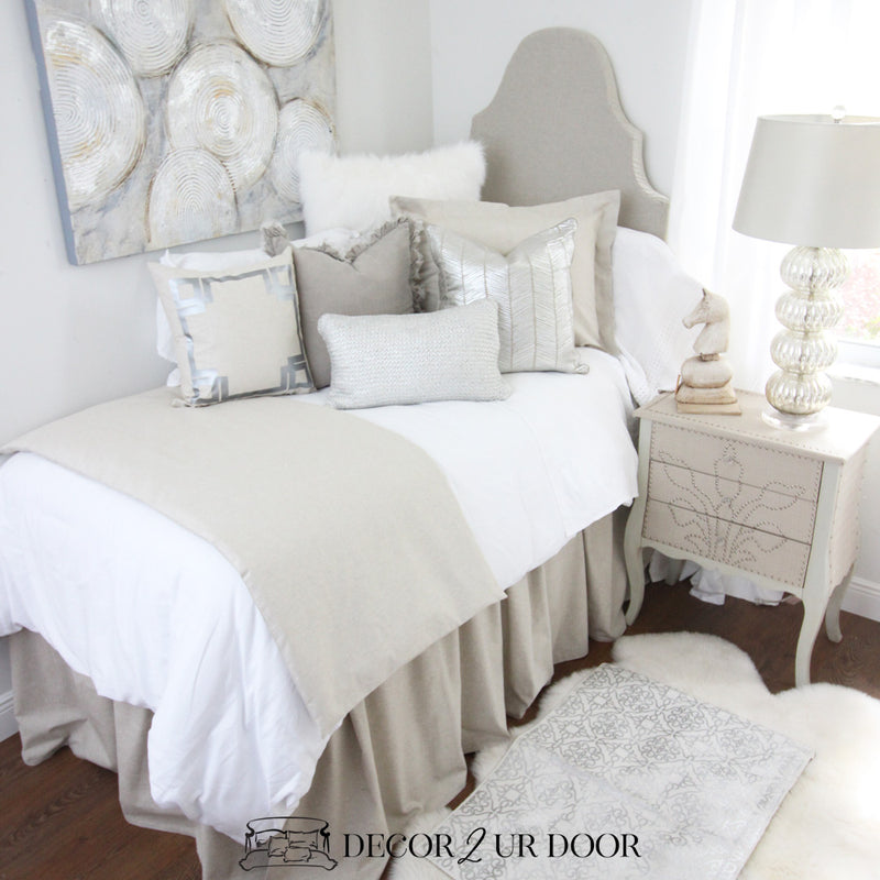 Tan & Metallic Silver Dorm Bedding Set