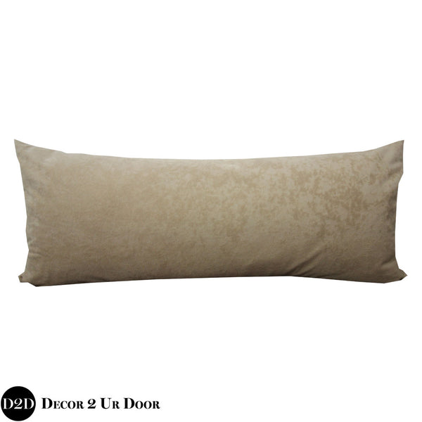 Tan Suede Long Lumbar Pillow Cover