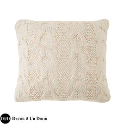 Tan Sweater Cable Knit Design Square Pillow Cover