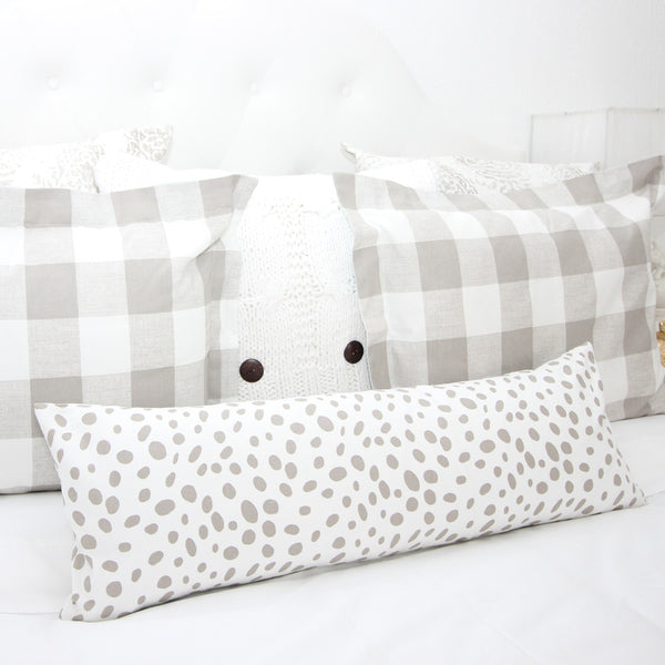 Tan & White Dalmatian Print Long Lumbar Pillow Cover