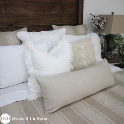 Solid Tan Long Lumbar Pillow Cover