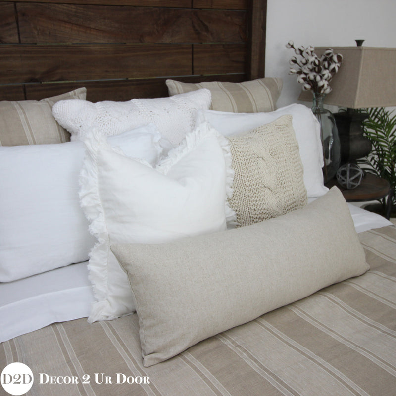 Farmhouse Tan & White Stripes Duvet Cover