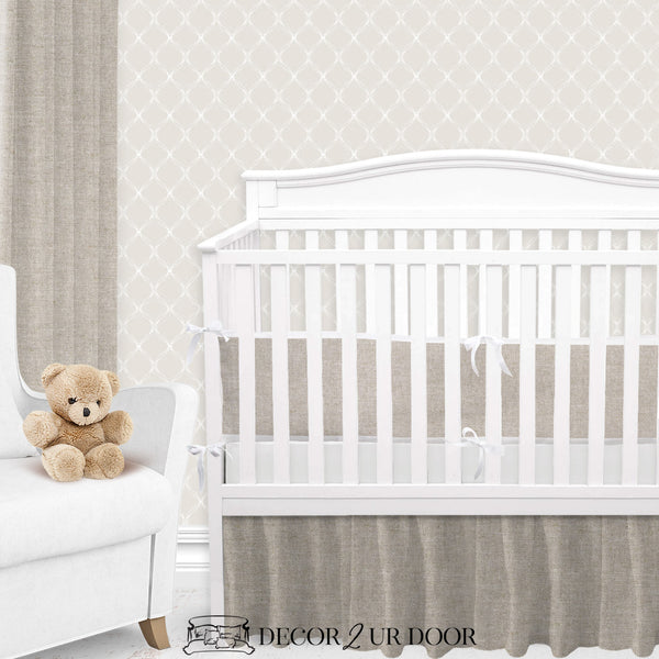 Tan & White Linen Gender Neutral Crib Bedding Set