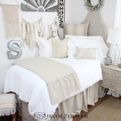 Tan Ruffles & White Linen Farmhouse Dorm Bedding Set
