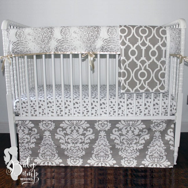 Taupe & White Gender Neutral Baby Crib Rail Cover
