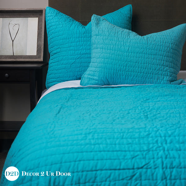 Solid Teal Quilted Sham