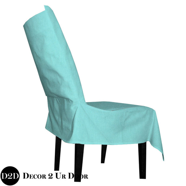 Solid Mandarin Blue Fabric Dorm Chair Cover with Storage Pocket