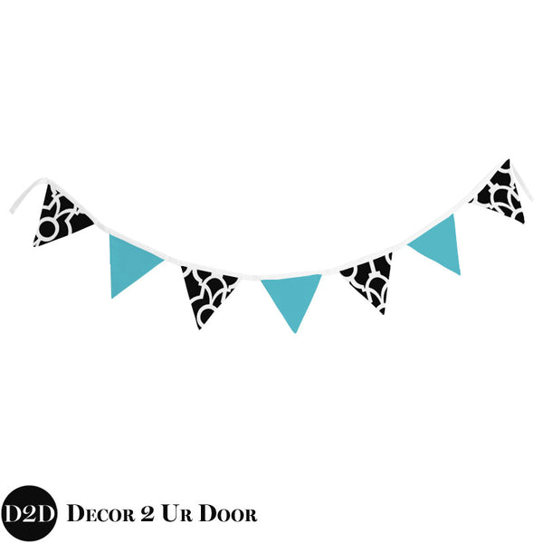 Tiffany Blue & Black Wall Fabric Pennant Banner