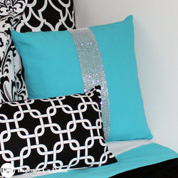 Mandarin Blue Rhinestones 'Bling' Square Pillow Cover