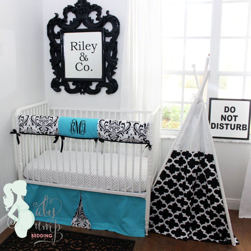 Tiffany Blue & Black Damask Baby Crib Rail Cover