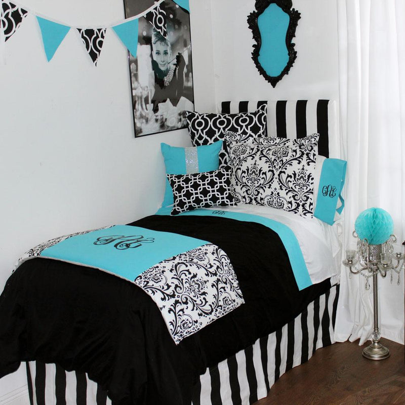 Tiffany Blue & Black Damask Pillow Pile