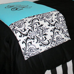 Tiffany Blue & Black Damask Bed Scarf