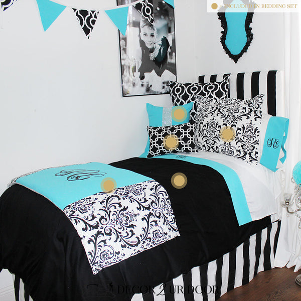 Tiffany Blue & Black Dorm Bedding Set