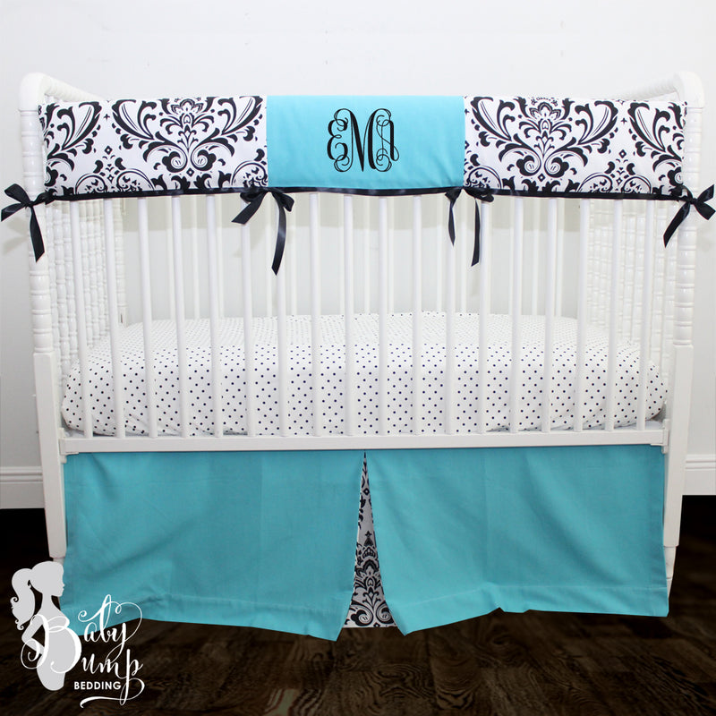 Tiffany Blue & Black Damask Baby Crib Skirt