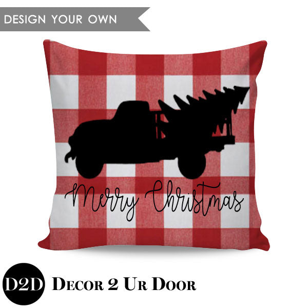 Vintage Truck Merry Christmas Square Throw Pillow Cover