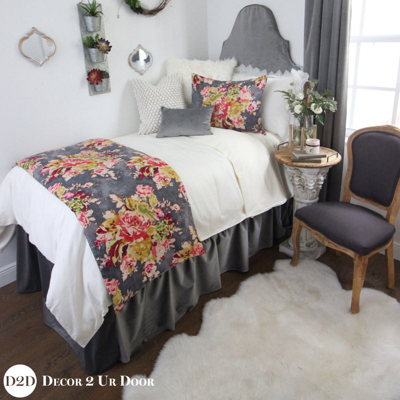 Grey Velvet & Multicolor Floral Designer Bedding Collection
