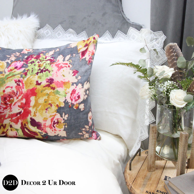 Grey Velvet & Multicolor Floral Dorm Bedding Set