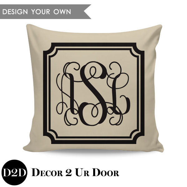 Vintage Border + Initials Monogram Square Personalized Pillow Cover