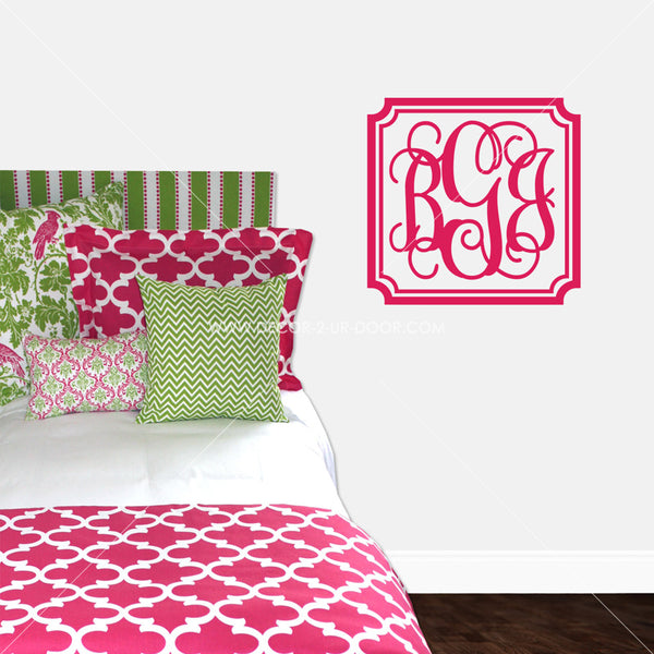 Vintage Border Monogram Personalized Vinyl Wall Decal