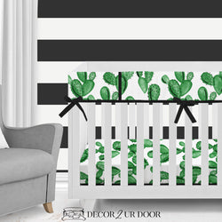 Watercolor Cactus Bumperless Crib Bedding Set