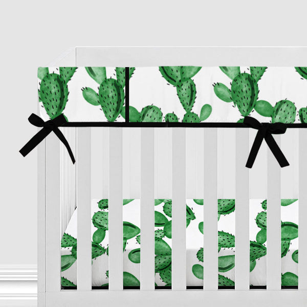 Watercolor Cactus Baby Crib Rail Cover