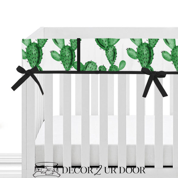 Watercolor Cactus 2-in-1 Crib Bumper/Rail Cover