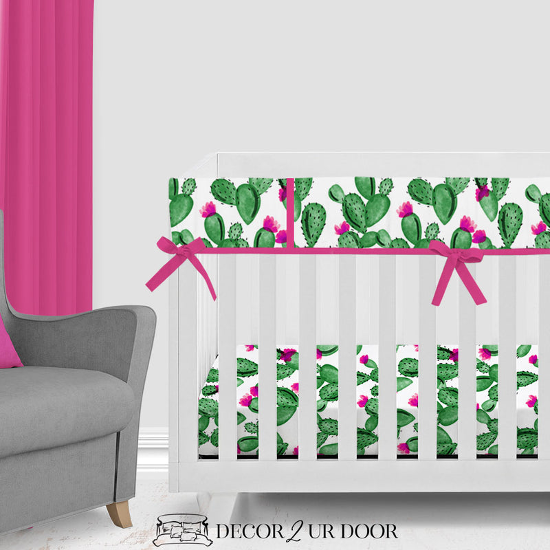 Watercolor Cactus & Pink 2-in-1 Crib Bumper/Rail Cover