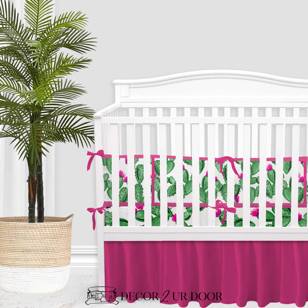 Watercolor Cactus & Hot Pink Baby Girl Crib Bedding Set