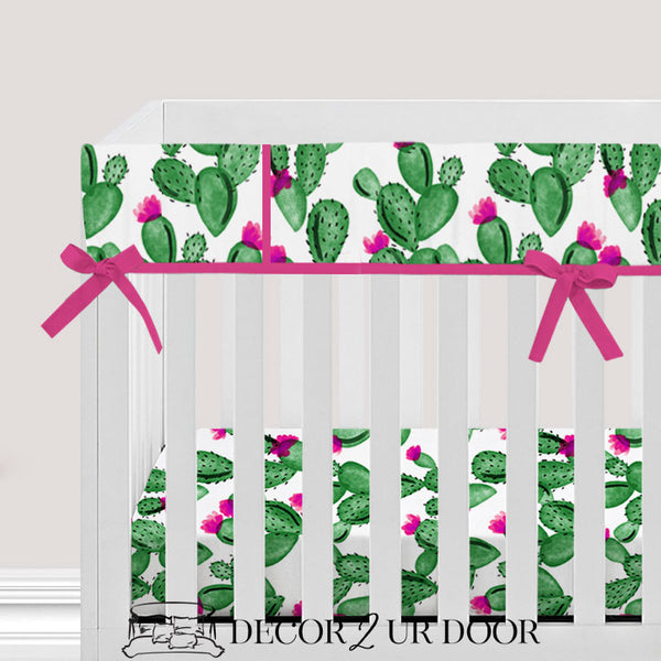 Watercolor Cactus and Hot Pink Baby Crib Rail Cover