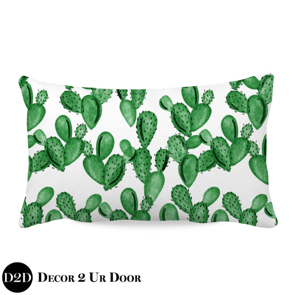 Watercolor Cactus Lumbar Nursery Throw Pillow Cover