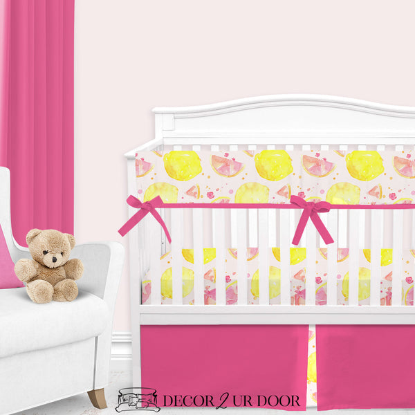 Watercolor Pink Lemonade Baby Crib Skirt