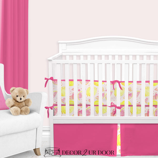 Watercolor Pink Lemonade Baby Girl Crib Bedding Set