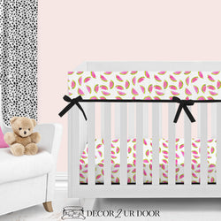 Watercolor Watermelon Bumperless Crib Bedding Set