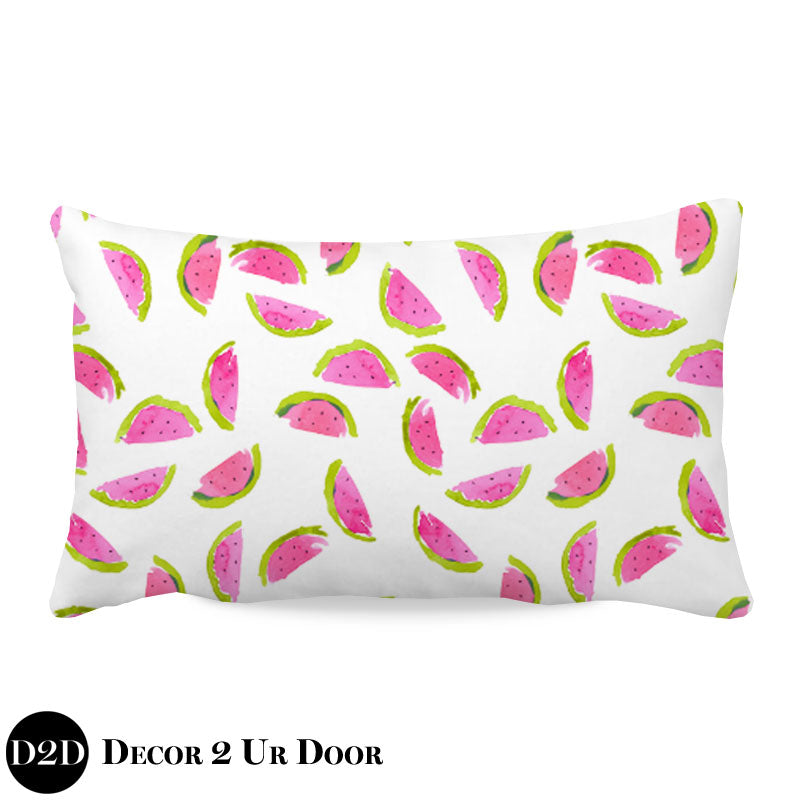 Watercolor Watermelon Lumbar Nursery Throw Pillow Cover