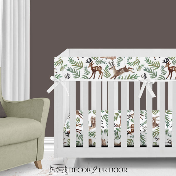 Watercolor Woodland Deer Bumperless Crib Bedding Set