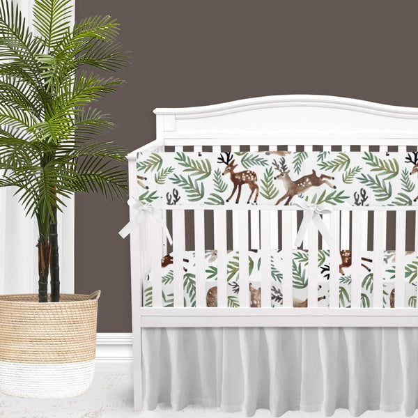Watercolor Woodland Deer Baby Boy Crib Bedding Set
