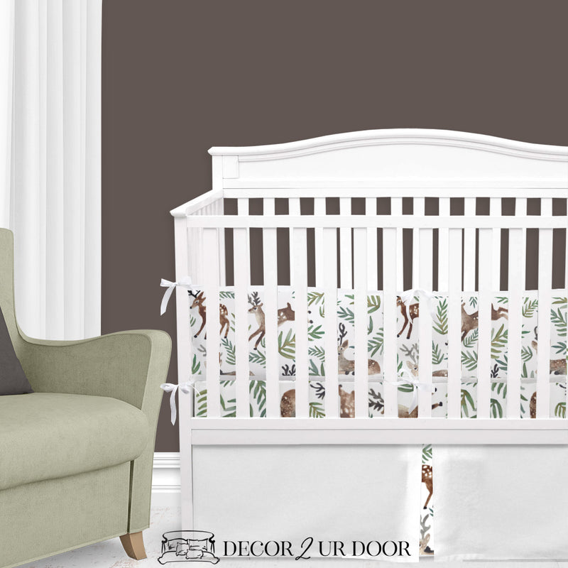 Watercolor Woodland Deer Baby Crib Skirt