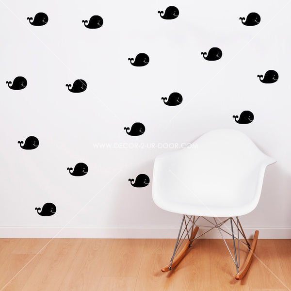 Cute Whales Vinyl Wall Decals
