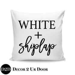 White & Shiplap Farmhouse Square Throw Pillow Cover