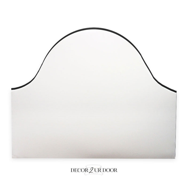 Solid White & Black Edge Padded Fabric Headboard