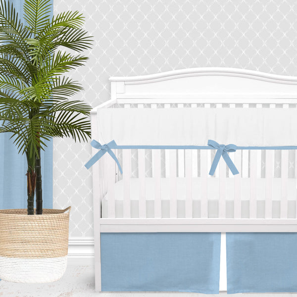 White & Blue Linen Baby Boy Crib Bedding Set
