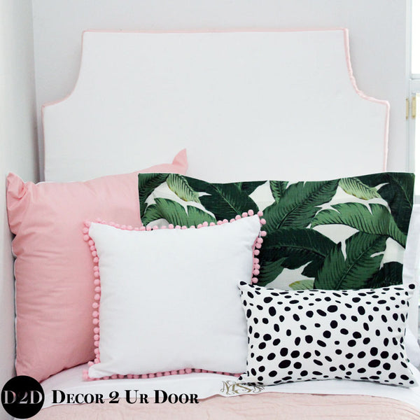 Solid White & Blush Pink Padded Fabric Headboard