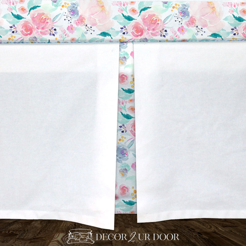 Bright and Beautiful Watercolor Floral Baby Crib Skirt